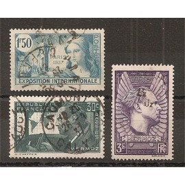 336 - 337 - 338 (1937) Exposition Internationale / 2 Jean Mermoz oblitérés (cote 5,9e) (4454)