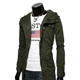 Keral Hommes Capuche Blouson Veste Manches Longues Zip Manteau Trench Décontracté Veste Parka Jacket Avec Multi-poches
