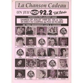 feuille de jeu radio années 80 FARMER KAREN CHERYL CORYNNE CHARBY FERRAT VANESSA PARADIS C.JEROME