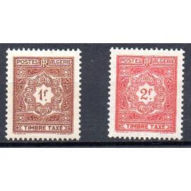Algérie- Lot de 2 timbres neufs-TBE- Timbre taxe- Faciale 1f brun et 2F rouge