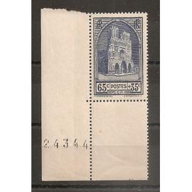 399 (1938) Cathédrale de Reims 65c+35c N** (cote 20e) (4659) d'occasion  Livré partout en France