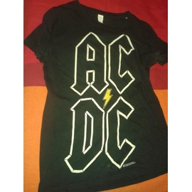 T-shirt tear-away Tag Acdc Coton M Noir