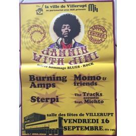 Hendrix - Blues Rock - Burning Amps - AFFICHE / POSTER envoi en tube - 40x60 cm