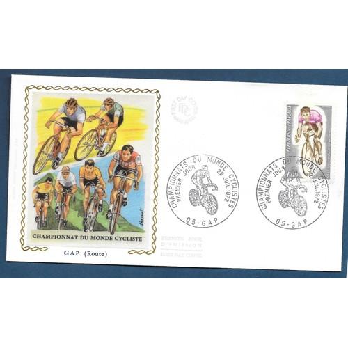 France fdc enveloppe 1er jour motif soie n°1724 championnat du monde cycliste <strong>gap</strong> 22 07 1972