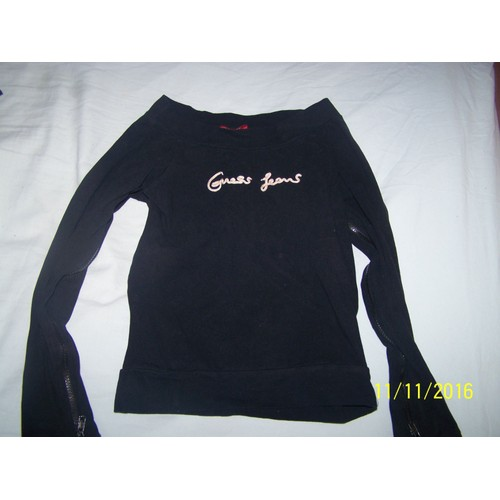 Tee shirt manches longues noir <strong>guess</strong> taille 34