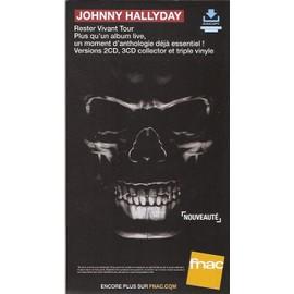 plv cartonnée rigide 14x25cm JOHNNY HALLYDAY rester vivant tour / magasins FNAC