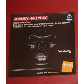 PLV souple 30x30cm JOHNNY HALLYDAY rester vivant tour 2016 / magasins FNAC