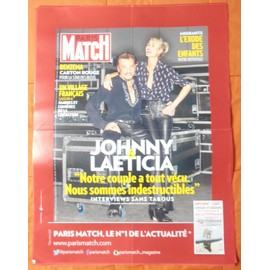 AFFICHE PLIéE FORMAT 80X60 PARIS MATCH JOHNNY HALLYDAY LAETICIA