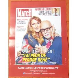 AFFICHE PLIéE FORMAT 80X60 PARIS MATCH CéLINE DION