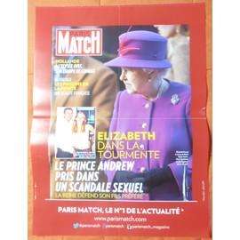 AFFICHE PLIéE FORMAT 80X60 PARIS MATCH PRINCE ANDREW REINE ELIZABETH