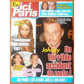 AFFICHE PLIéE FORMAT 80X60 ICI PARIS JOHNNY HALLYDAY CHARLOTTE CASIRAGHI GAD ELMALEH NABILA