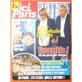 AFFICHE PLIéE FORMAT 80X60 ICI PARIS JOHNNY HALLYDAY LAETITIA ALAIN NATHALIE DELON