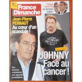 AFFICHE PLIéE FORMAT 80X60 FRANCE DIMANCHE JOHNNY HALLYDAY JEAN PIERRE PERNAUT PHILIPPE TORRETON
