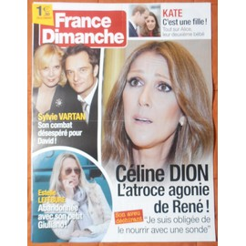AFFICHE PLIéE FORMAT 80X60 FRANCE DIMANCHE DAVID HALLYDAY SYLVIE VARTAN CéLINE DION ESTELLE LEFEBURE