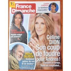 AFFICHE PLIéE FORMAT 80X60 FRANCE DIMANCHE CéLINE DION MICHEL DELPECH KARINE LE MARCHAND CORDULA C.