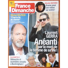 AFFICHE PLIéE FORMAT 80X60 FRANCE DIMANCHE MICHEL DELPECH LAURENT GERRA MIREILLE MATHIEU ELIZABETH 2