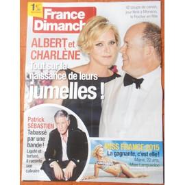 AFFICHE PLIéE FORMAT 80X60 FRANCE DIMANCHE PATRICK SEBASTIEN ALBERT CHARLèNE DE MONACO MISS FRANCE
