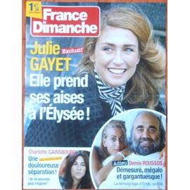 AFFICHE PLIéE FORMAT 80X60 FRANCE DIMANCHE JULIE GAYET CHARLOTTE GAINSBOURG DEMIS ROUSSOS RARE