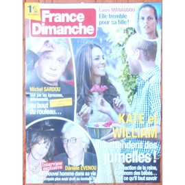AFFICHE PLIéE FORMAT 80X60 FRANCE DIMANCHE MICHEL SARDOU LAURE MANAUDOU KATE MIDDLETON WILLIAM RARE