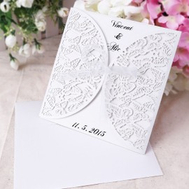10x carte invitation faire part dentelle papillons blanche ruban enveloppe pour mariage. Black Bedroom Furniture Sets. Home Design Ideas