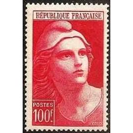 France 1945, très bel exemplaire yvert 733, marianne de gandon grand format 100F. rouge, neuf** luxe