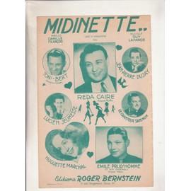 Midinette créé et enregistré par Reda Caire ou Toni-Bert ou Lucien Jeunesse ou Huguette Marchal ou Jean Pierre Dujay ou Emile Prud'homme