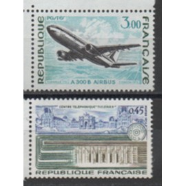 France 1973: Lot de 2 timbres neufs de la série des grandes réalisations, N° 1750 et 1751