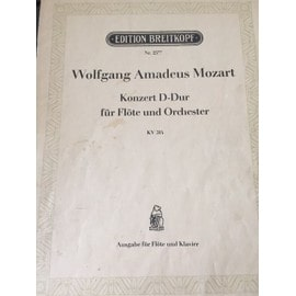 MOZART Konzert D-Dur Flote und orchester Concerto flute orchestre Ausgabe Flote Klavier