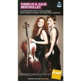 PLV cartonnée rigide 14x25cm CAMILLE et JULIE BERTHOLLET 2016 FNAC
