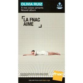 PLV cartonnée rigide 14x25cm OLIVIA RUIZ à nos corps-aimants 2016 FNAC