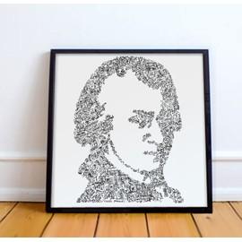 Wolfgang Amadeus Mozart -30x30cm - Portrait du musicien inspiré de sa vie - edition ouverte - le requiem Don Juan cosi fan Tutte flute enchantee