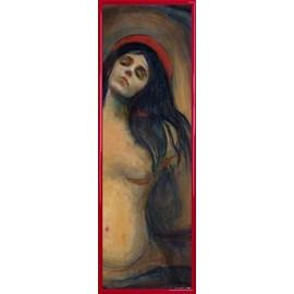 Poster Reproduction encadré: Edvard Munch - Madonna, 1894-1895 (91x30 cm), Cadre Plastique, Rouge