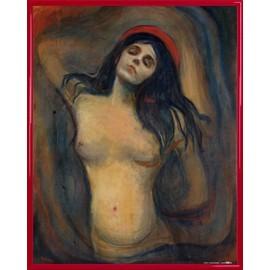 Poster Reproduction encadré: Edvard Munch - Madonna, 1894-1895 (50x40 cm), Cadre Plastique, Rouge