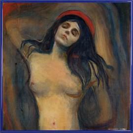 Poster Reproduction encadré: Edvard Munch - Madonna, 1894-1895 (40x40 cm), Cadre Plastique, Bleu