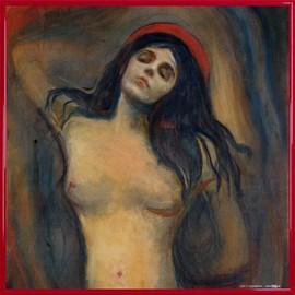 Poster Reproduction encadré: Edvard Munch - Madonna, 1894-1895 (40x40 cm), Cadre Plastique, Rouge