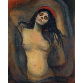 Edvard Munch Poster Reproduction Sur Toile, Tendue Sur Châssis - Madonna, 1894-1895 (50x40 cm)
