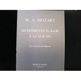 Mozart Divertimento n° 6 en si b pour 2 clarinettes et basson