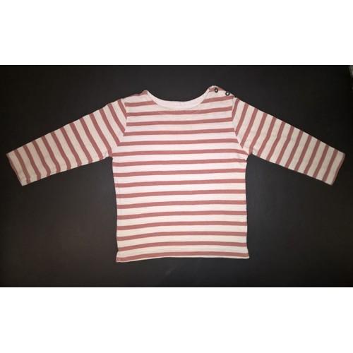 0eb6b69617df T shirt boutchou manches longues coton garçon 24 mois rouge brique et blanc