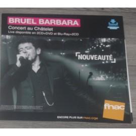 PLV souple 30x30cm PATRICK BRUEL chante BARBARA live au chatelet 2016 FNAC