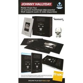 PLV cartonnée rigide 14x25cm JOHNNY HALLYDAY rester vivant tour  2016 FNAC