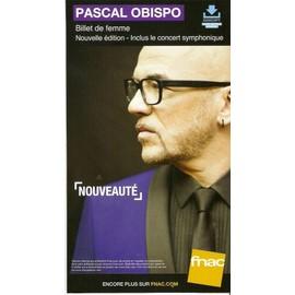 PLV cartonnée rigide 14x25cm PASCAL OBISPO billet de femme édition collector 2016 FNAC