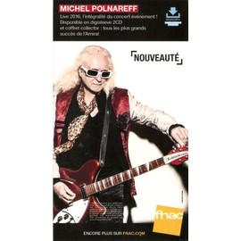PLV cartonnée rigide 14x25cm MICHEL POLNAREFF live 2016 FNAC