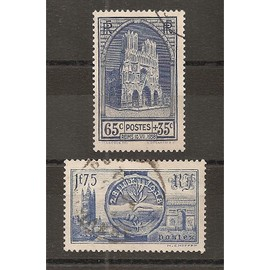 399 - 400 (1938) Reims 65c+35c / Souverains Britanniques Oblitérés (cote 13,75e) (5059)
