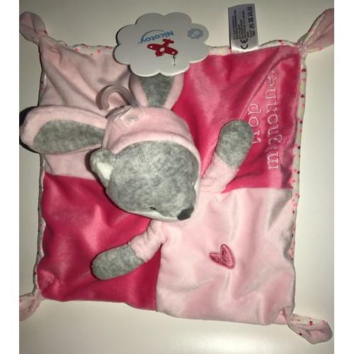 b3fca2484a6 Doudou lapin plat nicotoy blanc rose coeur jouet Eveil bébé capuche souris  renard chat peluche <