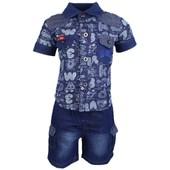 01ac2b9240b Ensemble Bebe Lee Cooper Pantalon Jeans + Debardeur + Chemise Bleu Fonce