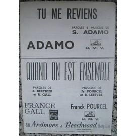 ADAMO Salvatore : Tu me Reviens - Quand on est ensemble