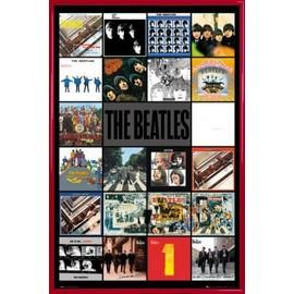Poster encadré: The Beatles - Albums (91x61 cm), Cadre Plastique, Rouge