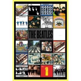 Poster encadré: The Beatles - Albums (91x61 cm), Cadre Plastique, Jaune