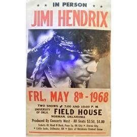 AFFICHE JIMI HENDRIX FIELD HOUSE 1968 USA