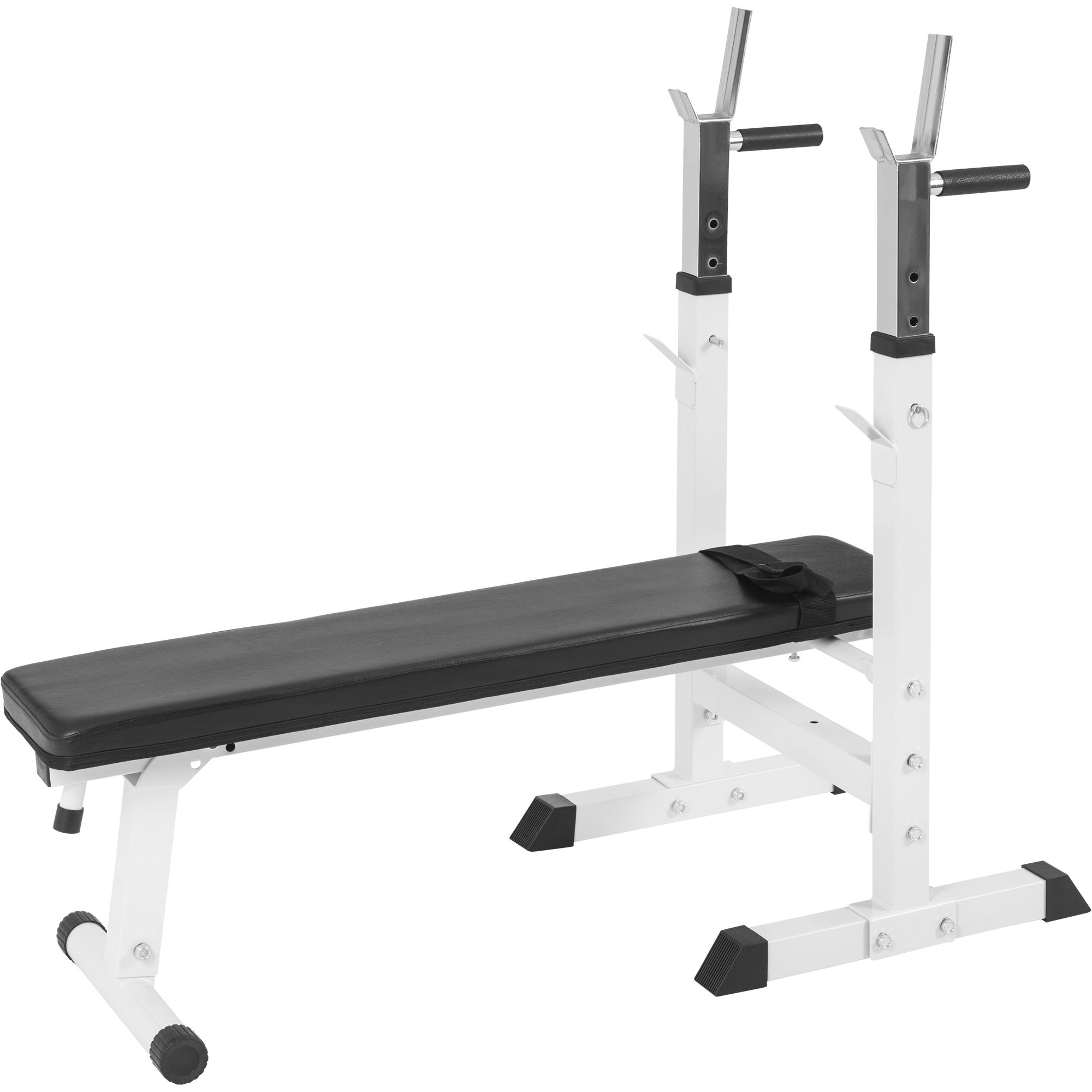 Gorilla Sports Banc De Musculation Avec Support De Barres Couleur Blanc